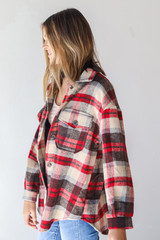 Plaid Shacket in Red Side View