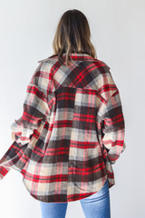 Plaid Shacket in Red Back View