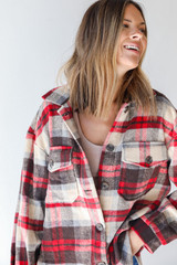 Plaid Shacket in Red Front View