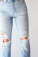 Close Up of High Waisted Dad Jeans