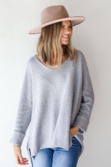 Heather Grey - Oversized Sweater Front View on model