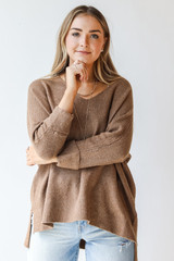 Camel - Model wearing an Oversized Sweater with jeans