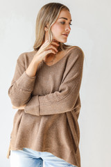 Camel - Dress Up model wearing an Oversized Sweater with jeans