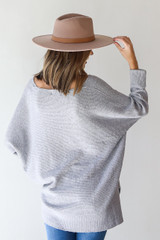 Oversized Sweater in Heather Grey Back View