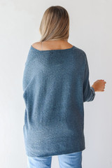 Oversized Sweater in Teal Back View