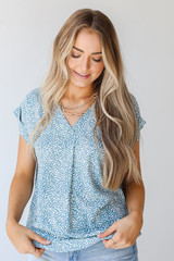 Teal - Spotted Blouse Front View