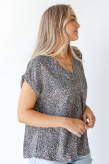 Spotted Blouse in Mocha Side View