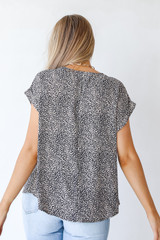 Spotted Blouse in Mocha Back View
