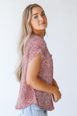 Spotted Blouse in Rust Side View