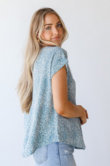Spotted Blouse in Teal Side View