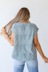 Spotted Blouse in Teal Back View