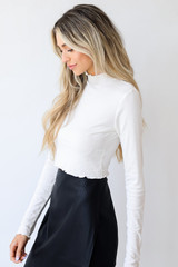 Mock Neck Crop Top in White Side View