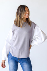Light Grey - Knit Blouse from Dress Up