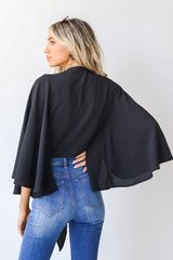 Tie-Front Blouse in Black Back View