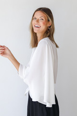 Tie-Front Blouse in Ivory Side View