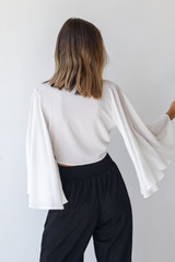 Tie-Front Blouse in Ivory Back View