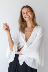 Tie-Front Blouse in Ivory Front View