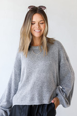 Heather Grey - Sweater Front View on model