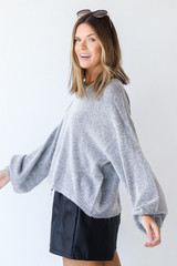 Sweater in Heather Grey Side View