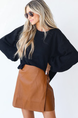 Camel - Dress Up model wearing a Faux Leather Mini Skirt
