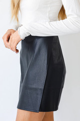 Faux Leather Mini Skirt in Black Side View