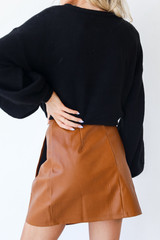 Faux Leather Mini Skirt in Camel Back View