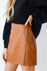 Faux Leather Mini Skirt in Camel Side View