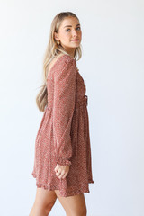 Smocked Mini Dress in Rust Side View