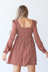 Smocked Mini Dress in Rust Back View