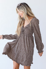 Smocked Mini Dress in Brown Side View