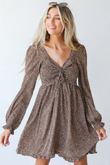 Smocked Mini Dress in Brown Front View
