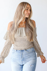 Taupe - Smocked Floral Blouse