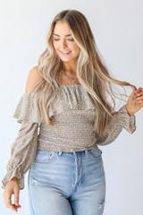 Smocked Floral Blouse in Taupe Front View on model