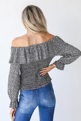Smocked Floral Blouse in Black Back View