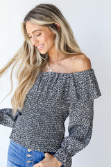 Smocked Floral Blouse in Black Side View