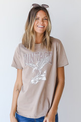 Dress Up model wearing the Mocha Vintage Eagle Graphic Tee