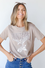 Mocha Vintage Eagle Graphic Tee Front View