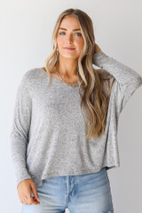 Grey - Brushed Knit Top