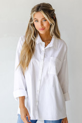 White - Model wearing a Button-Up Blouse