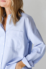 Button-Up Blouse in Blue Front View