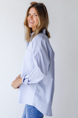 Button-Up Blouse in Blue Side View