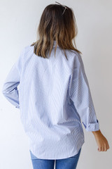 Button-Up Blouse in Blue Back View