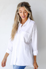 Button-Up Blouse in White Side View