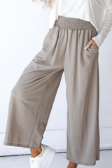 Taupe - Smocked Pants Front View