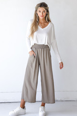 Taupe - Smocked Pants Front View on model