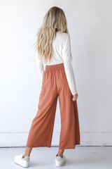 Smocked Pants in Rust Back View