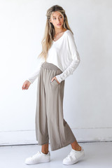 Smocked Pants in Taupe Side View