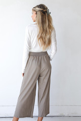 Smocked Pants in Taupe Back View