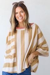 Camel - Oversized Striped Top