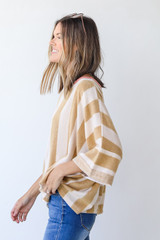 Oversized Striped Top in Camel Side View